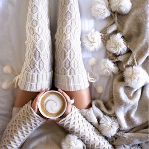Accessories - Over the Knee White Cable Knit Thigh High Socks